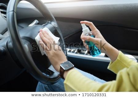 Femme nettoyage voiture extérieur fille main Photo stock © wavebreak_media