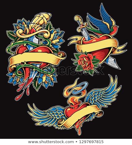 rózsa · kard · tetoválás · divat · szív · szépség - stock fotó © creative_stock