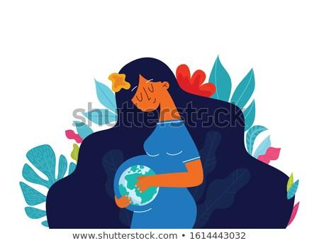 シルエット · 将来 · 母親 · クローズアップ · 白 · 青 - ストックフォト © carodi