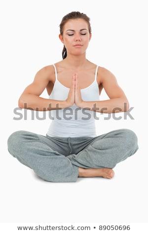 Caber mulher posição branco céu corpo Foto stock © wavebreak_media
