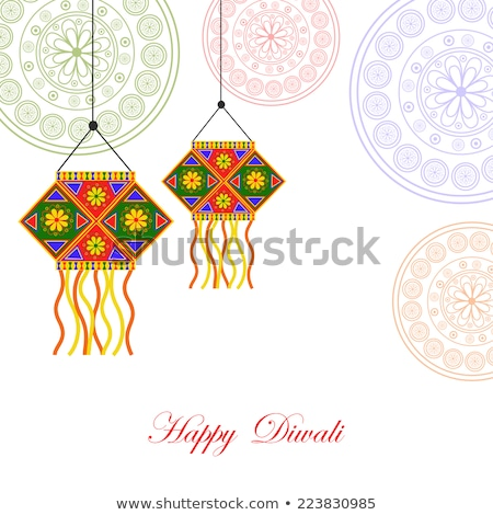 abstract diwali background with deepak stock photo © pathakdesigner