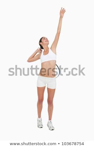 teljes · alakos · nő · teniszező · ütő · kész · labda - stock fotó © wavebreak_media