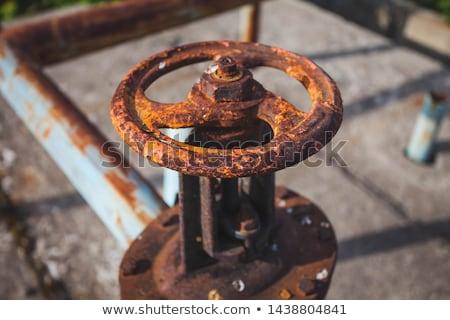 Rozsdás szelep mező fű fém ipar Stock fotó © michaklootwijk