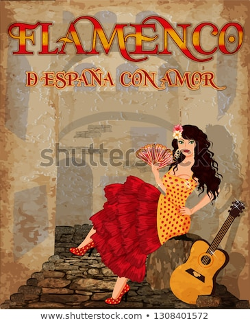Flamenco dancer girl with fan and guitar, vector illustration Stock photo © carodi