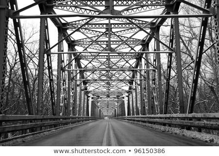 Stock photo: Road through metal bridge tunnel