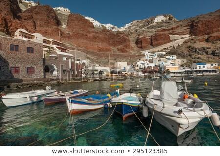 Stock fotó: Terasz · étterem · Santorini · Görögország · kilátás · vulkán
