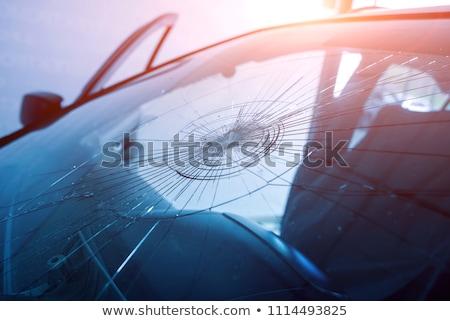 Quebrado pára-brisas vidro janela acidente reparar Foto stock © dacasdo