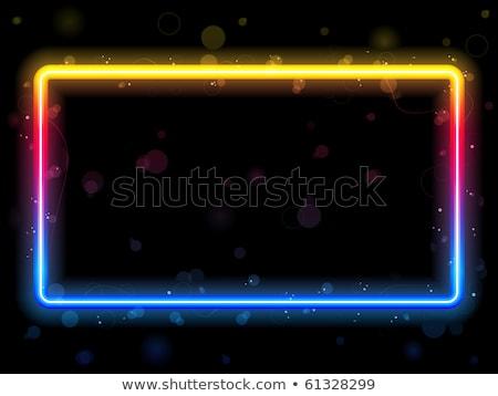 Rainbow Rectangle Border with Sparkles and Swirls.  Stock photo © gubh83