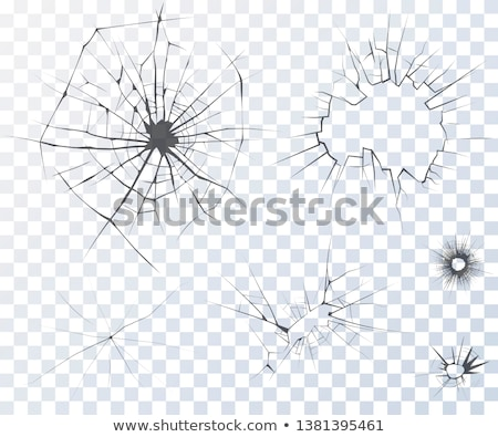 Bullet hole: Cracked and Shattered black glass  Stock photo © Arsgera