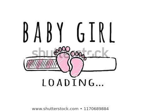 Stock photo: baby announcement card with pregnant woman