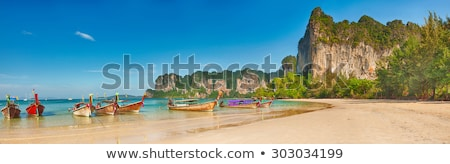 Panorama plage tropicale roches Thaïlande krabi sable Photo stock © pzaxe