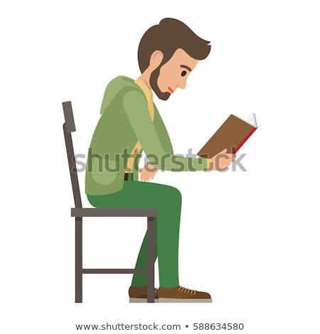 vue · de · côté · homme · lecture · livre · art · affaires - photo stock © zzve