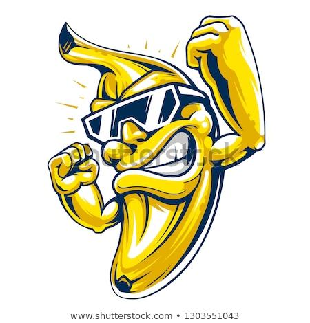 Człowiek bananów uśmiechnięty 30 lat stary niebieski Zdjęcia stock © aladin66