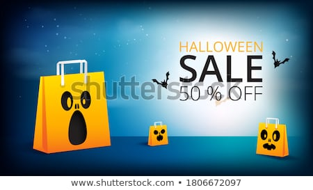 Trick or Treat Halloween card. Dark bat. vector illustration Stock photo © carodi