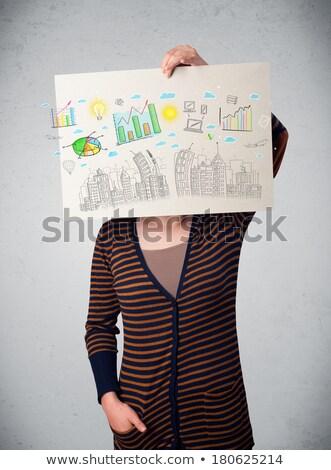mulher · desenhar · edifício · cityscape · escritório · mão - foto stock © ra2studio