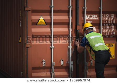 Stockfoto: Business Man With Shipping Containers