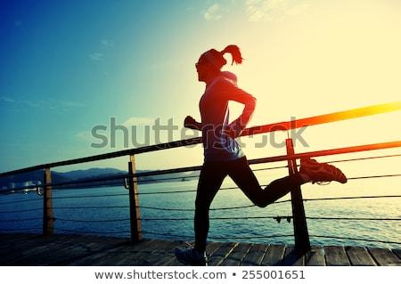 fitt · egészséges · lány · ital · tart · üveg - stock fotó © dukibu