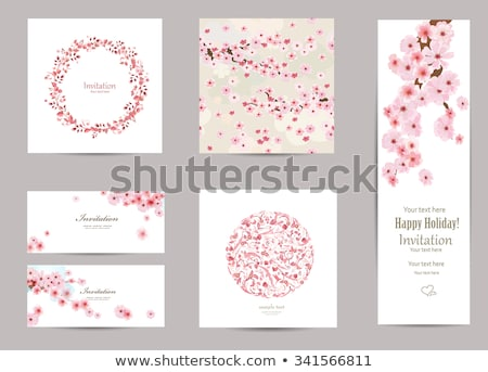 Stok fotoğraf: Spring Pink Cherry Blossoms Circle Background