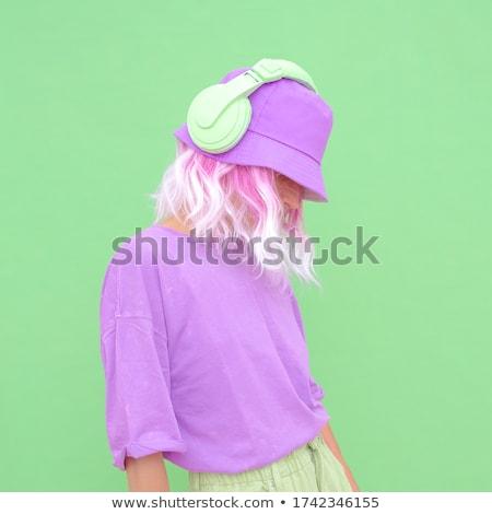 Stok fotoğraf: Kız · duvar · kağıdı · lazer · göstermek · örnek · vektör