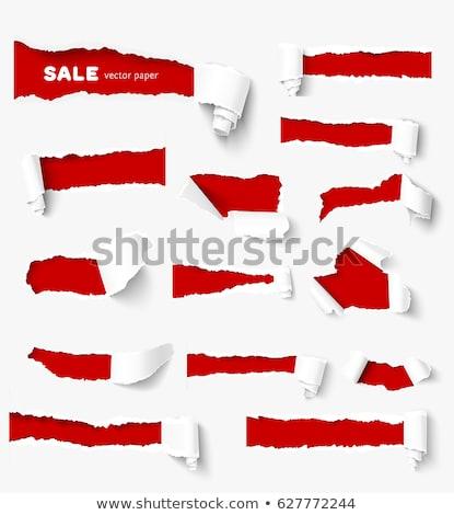 gescheurd · papier · Rood · ruimte · tekst · geïsoleerd · witte - stockfoto © impresja26