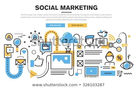 Közösségi média felhő infografika ikonok seo hirdetés Stock fotó © DavidArts
