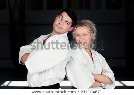 karate · pár · visel · áll · együtt · fiatal · pér - stock fotó © NicoletaIonescu