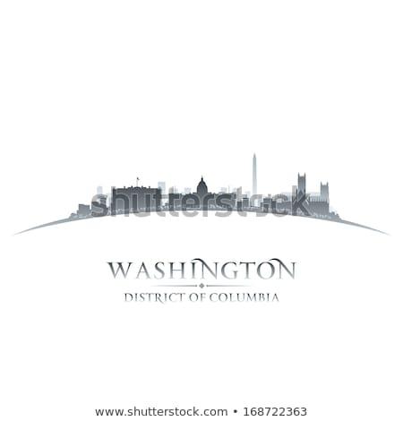 シルエット ワシントンDC スカイライン 日没 空 建設 ストックフォト © alex_grichenko