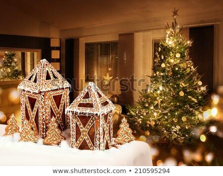 gingerbread cookies lantern cottages stock photo © anterovium
