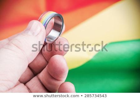 eşcinsel · sendika · birisi · eller · boyalı · gökkuşağı - stok fotoğraf © tashatuvango