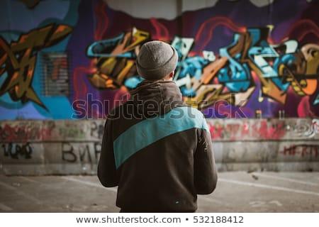 Kentsel duvar yazısı erkek vektör karikatür şehir Stok fotoğraf © araga