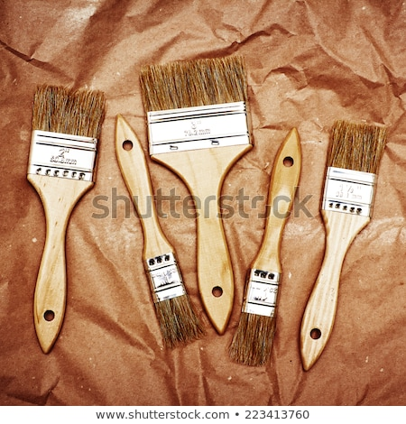Set of five renovation brushes on craft paper Stock photo © dariazu