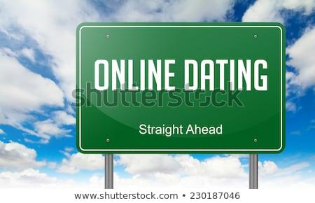 Сток-фото: Online Dating On Green Highway Signpost