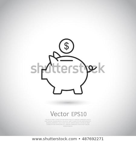 Vektör ikon kumbara dolar işareti simge iş Stok fotoğraf © thanawong