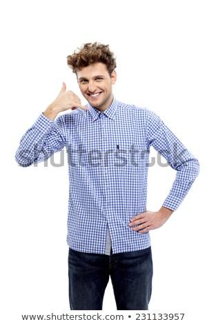 молодые случайный человека жест Сток-фото © deandrobot