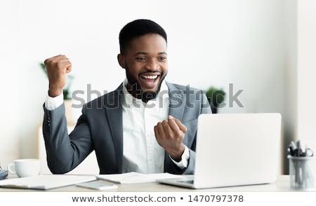 Młodych biznesmen zwycięstwo szczęśliwy czarny ciemne Zdjęcia stock © deandrobot