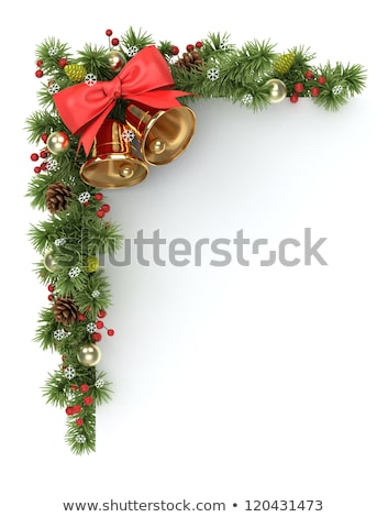 : Christmas design with holly leaves, bells and green damask ribbons ...