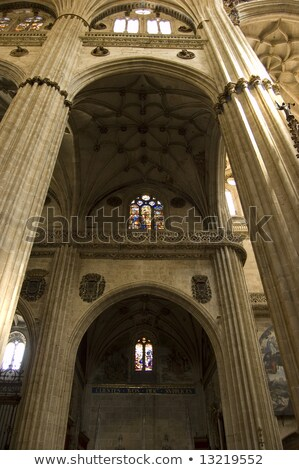 Stone Columns Stained Glass New Salamanca Cathedral Spain Stock photo © billperry
