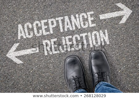 Beslissing aanvaarding afwijzing weg plan Stockfoto © Zerbor