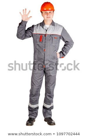 Stock photo: Construction Engineer Counting with Fingers from One to Five