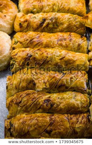 close up delicious bagel breads on white tray stock photo © ozgur