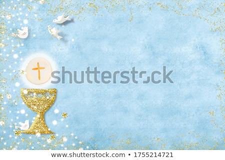 elsőáldozás · megerősítés · keresztség · kártya · virágok · kék - stock fotó © marimorena