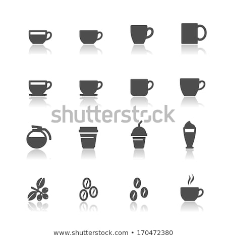 Cups of coffee with saucer with bag with coffee beans on white Stock photo © dla4