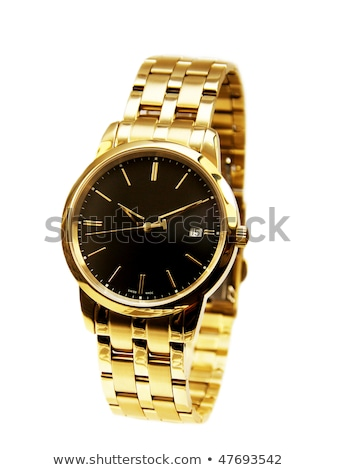 zwarte · riem · goud · horloge - stockfoto © caimacanul