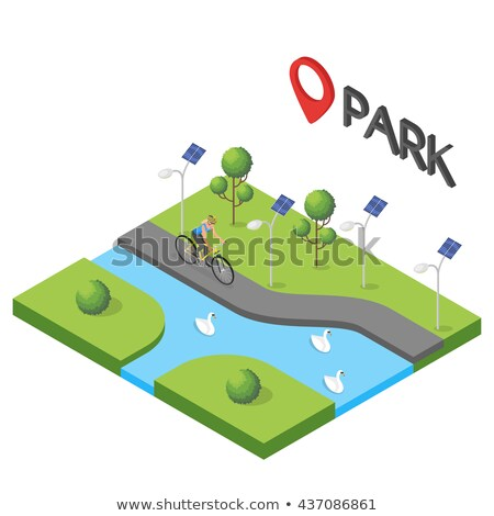 isometric blue bicycle on green grass Stock photo © teerawit