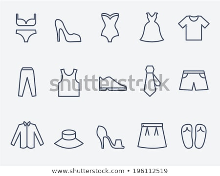 lady high heel shoe thin line icon stock photo © rastudio