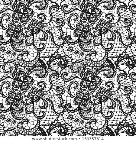 Vektor végtelenített klasszikus feketefehér csipke minta kézzel rajzolt Stock fotó © lissantee