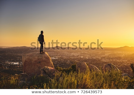 молодые · кавказский · человека · рюкзак · Top · холме - Сток-фото © master1305