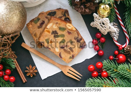 Stock photo: Slices of fruit cake