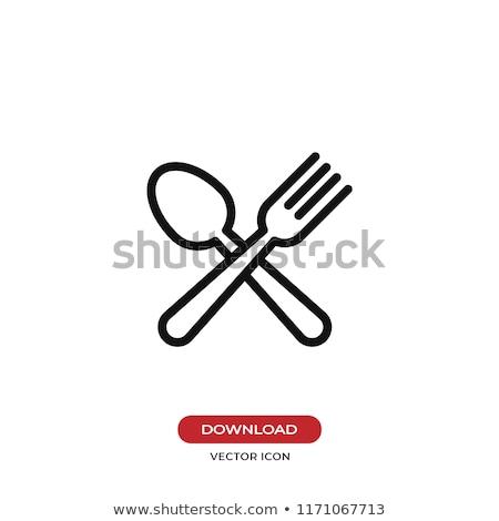Tányér evőeszköz vonal ikon háló mobil Stock fotó © RAStudio