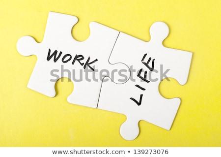 pracy · życia · równowagi · rysunek · notatnika · biurko - zdjęcia stock © ivelin